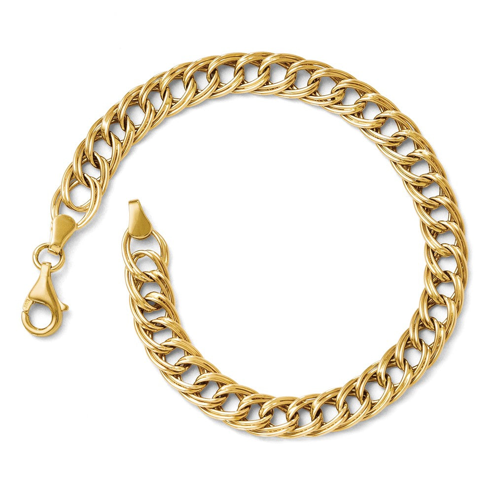 14k Yellow Gold 7mm Double Curb Link Chain Bracelet, 7 Inch, Item B11696 by The Black Bow Jewelry Co.