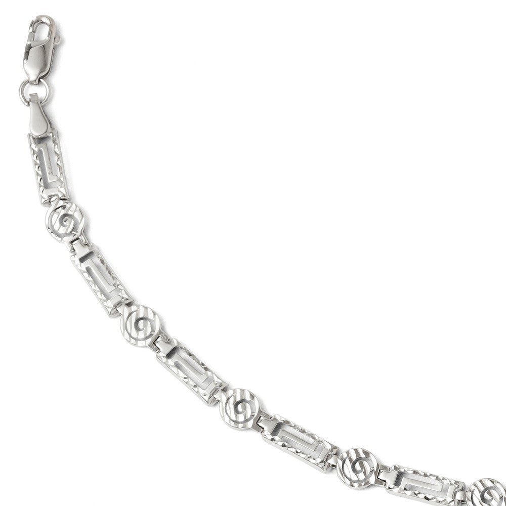 6mm Diamond Cut Spiral Link Bracelet in 14k White Gold, 7 Inch, Item B11700 by The Black Bow Jewelry Co.