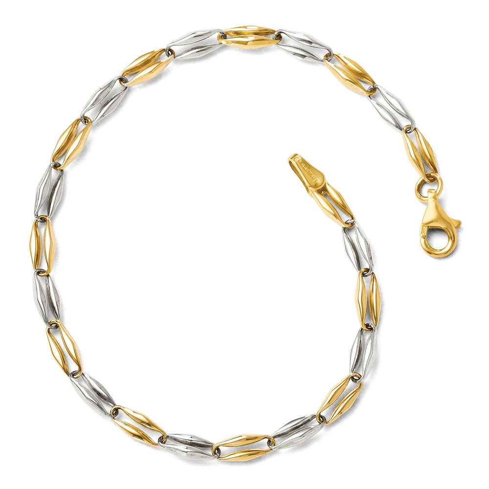 14k Two Tone Gold, 3.5mm Puffed Link Chain Bracelet, 7.25 Inch, Item B11703 by The Black Bow Jewelry Co.