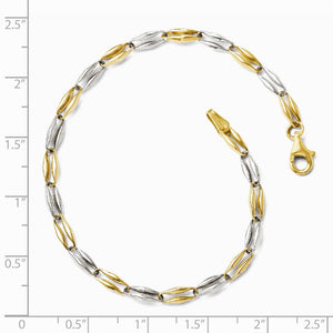 Alternate view of the 14k Two Tone Gold, 3.5mm Puffed Link Chain Bracelet, 7.25 Inch by The Black Bow Jewelry Co.