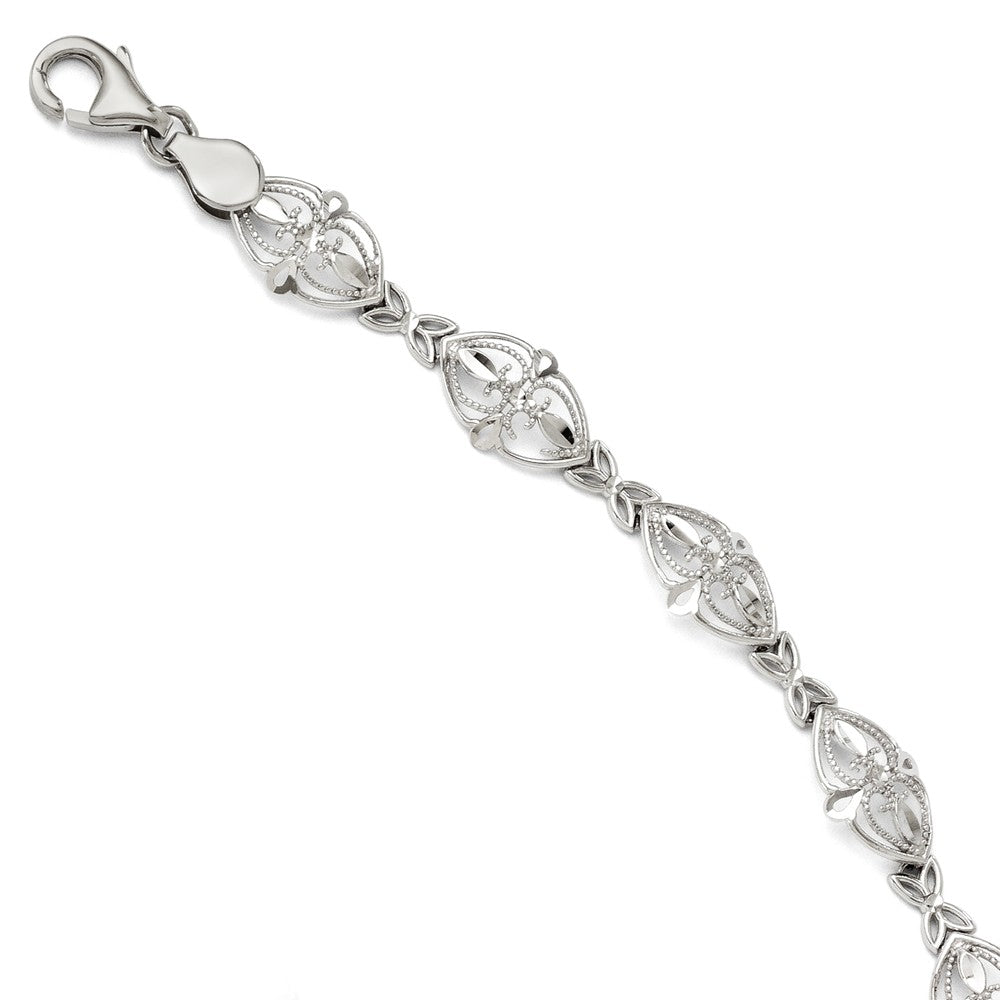 8mm Filigree Heart Link Bracelet in 14k White Gold, 7 Inch, Item B11708 by The Black Bow Jewelry Co.