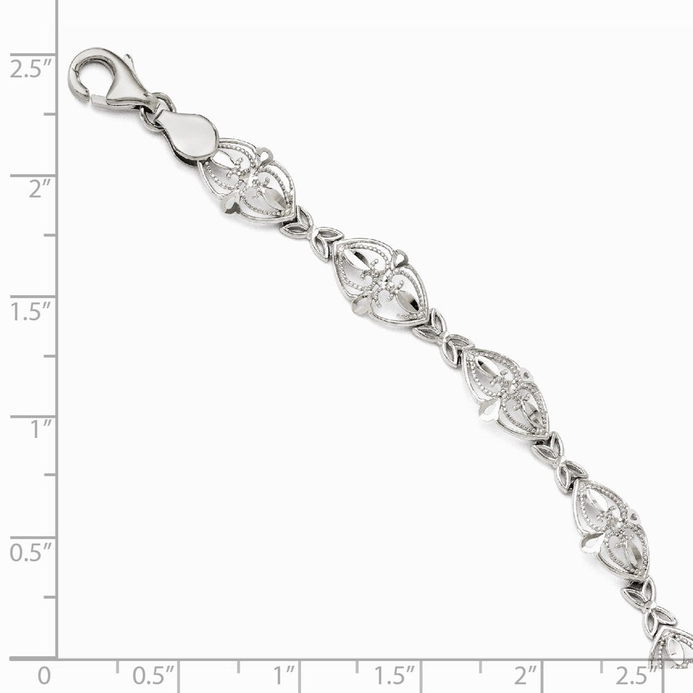 Alternate view of the 8mm Filigree Heart Link Bracelet in 14k White Gold, 7 Inch by The Black Bow Jewelry Co.