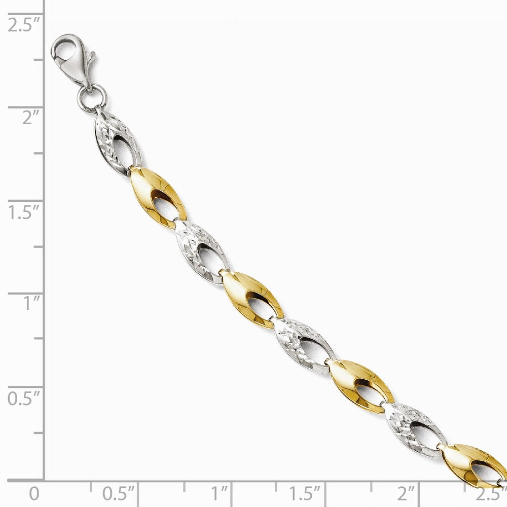 Alternate view of the 14k Two Tone Gold 5mm Diamond Cut Link Bracelet 7 Inch by The Black Bow Jewelry Co.
