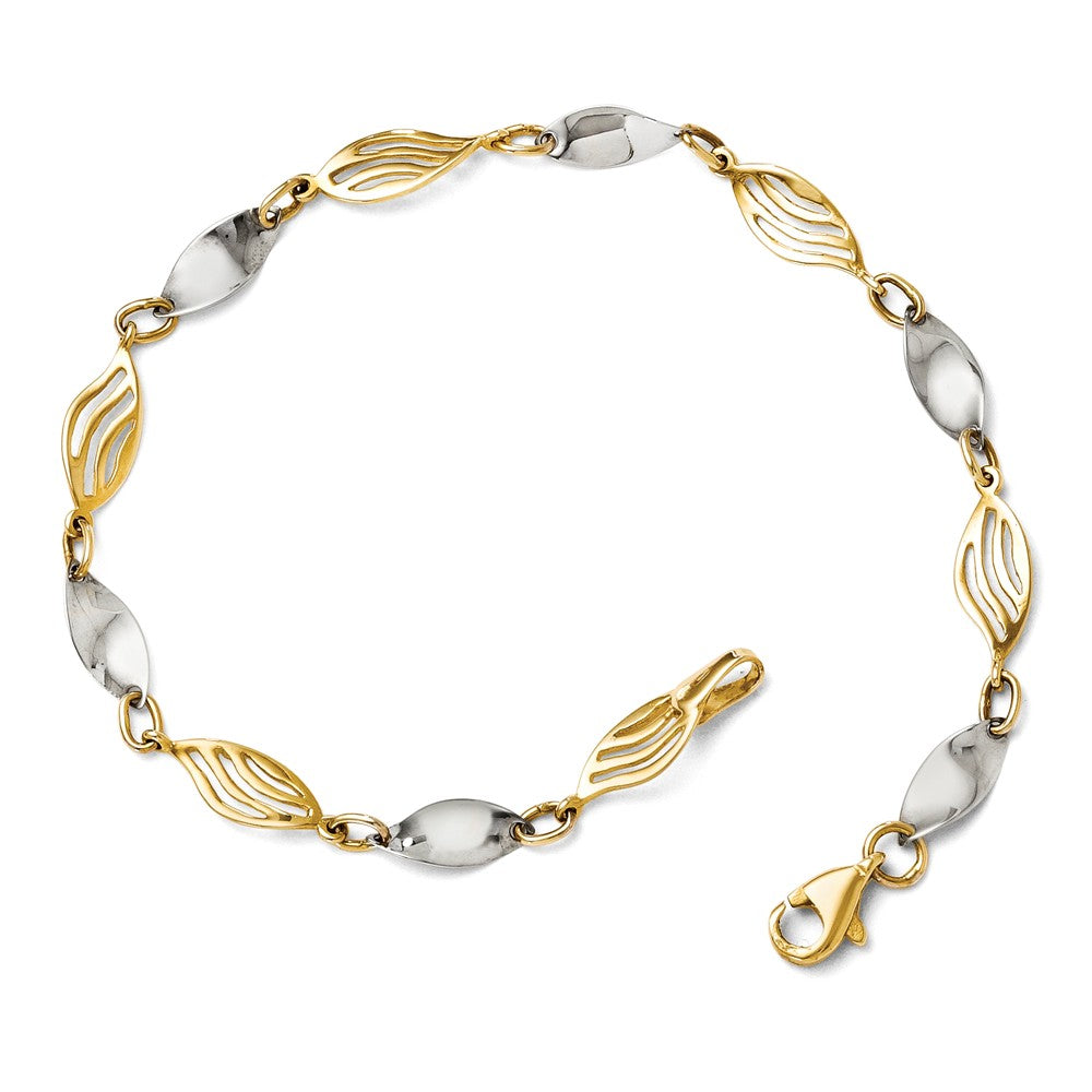 14k Two Tone Gold 5mm Twisted Link Bracelet, 7 Inch, Item B11713 by The Black Bow Jewelry Co.