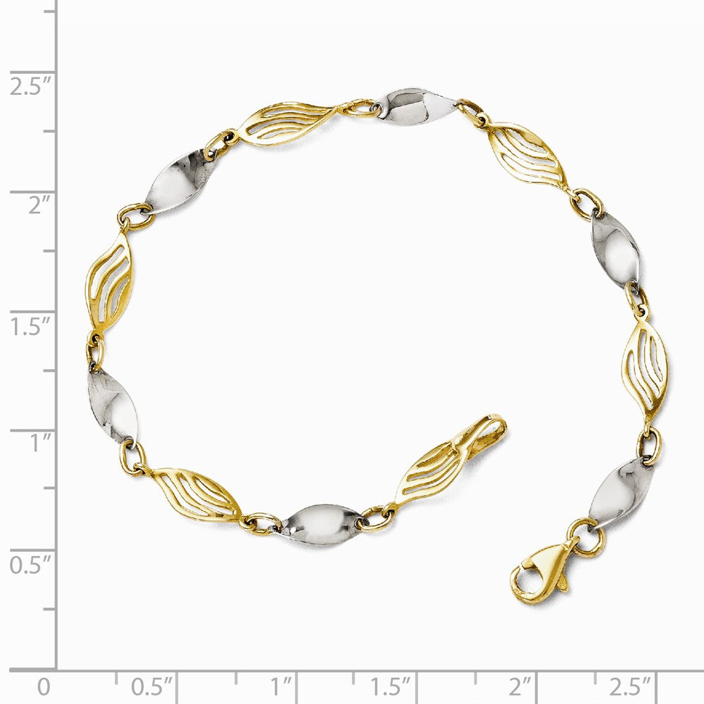 Alternate view of the 14k Two Tone Gold 5mm Twisted Link Bracelet, 7 Inch by The Black Bow Jewelry Co.