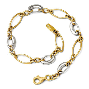 14k Two Tone Gold 6mm Polished Oval Link Chain Bracelet, 7.25 Inch