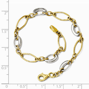 Alternate view of the 14k Two Tone Gold 6mm Polished Oval Link Chain Bracelet, 7.25 Inch by The Black Bow Jewelry Co.