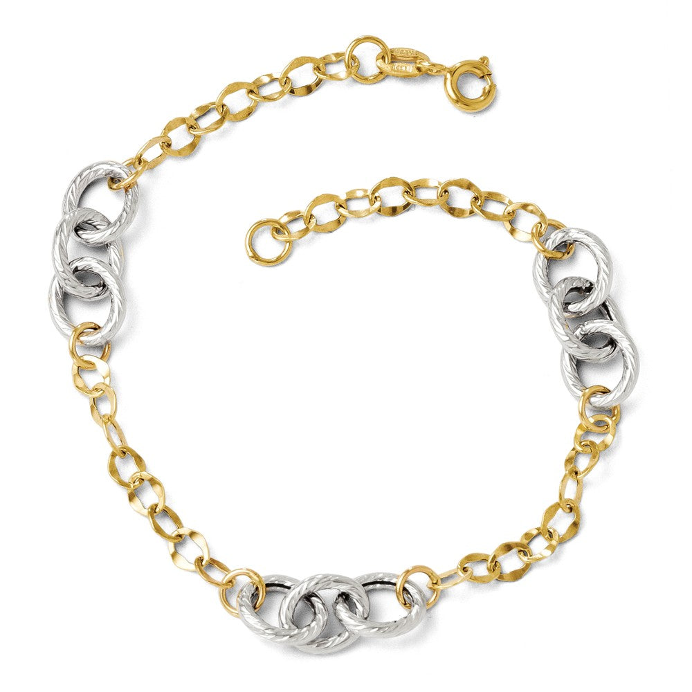 14k Two Tone Gold 7mm Polished & Textured Link Chain Bracelet, 7.5 In, Item B11717 by The Black Bow Jewelry Co.