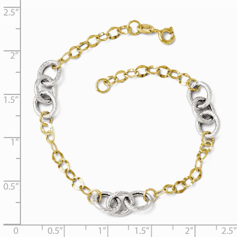 Alternate view of the 14k Two Tone Gold 7mm Polished & Textured Link Chain Bracelet, 7.5 In by The Black Bow Jewelry Co.