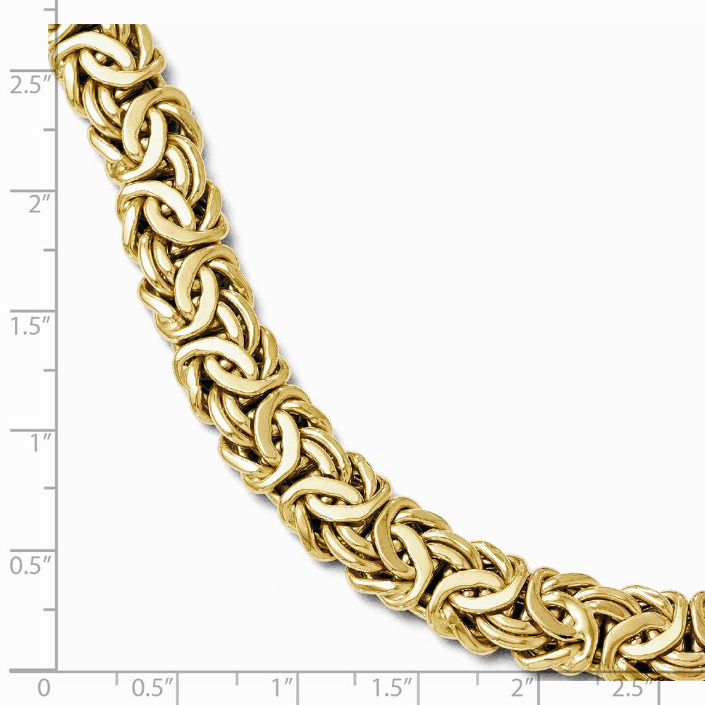Alternate view of the Italian 12mm Byzantine Chain Bracelet in 14k Yellow Gold, 7.5 Inch by The Black Bow Jewelry Co.