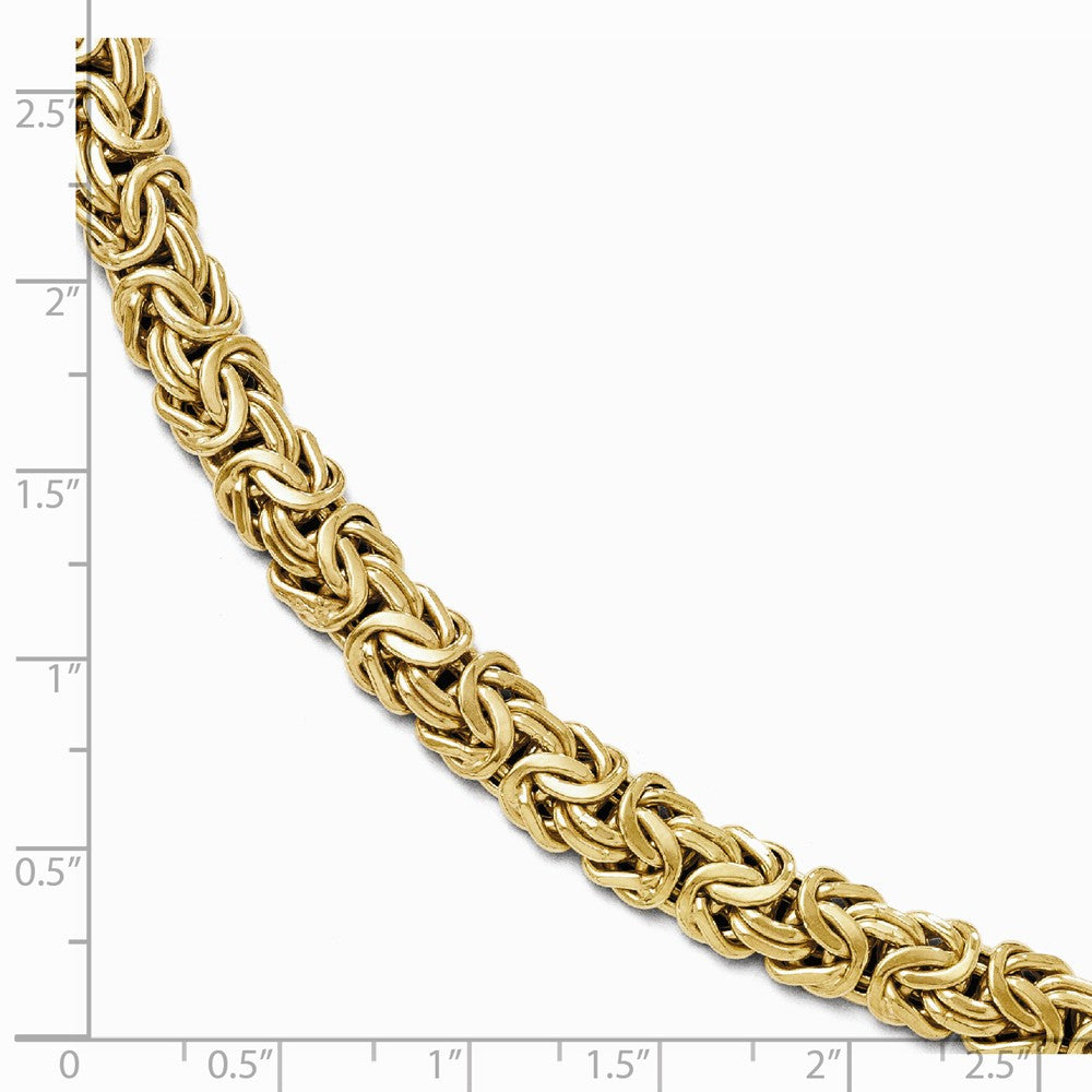 Alternate view of the Italian 8mm Byzantine Chain Bracelet in 14k Yellow Gold, 7.5 Inch by The Black Bow Jewelry Co.