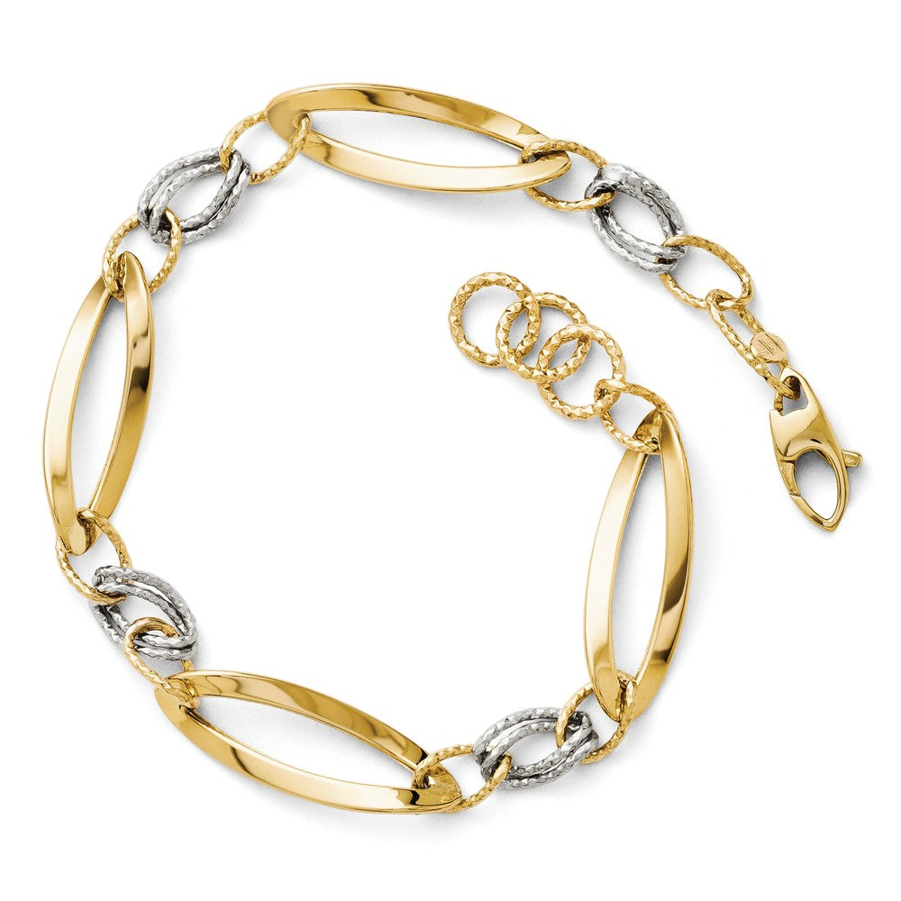 14k Two Tone Gold, 8mm Polished & Diamond Cut Adj. Chain Bracelet, Item B11765 by The Black Bow Jewelry Co.
