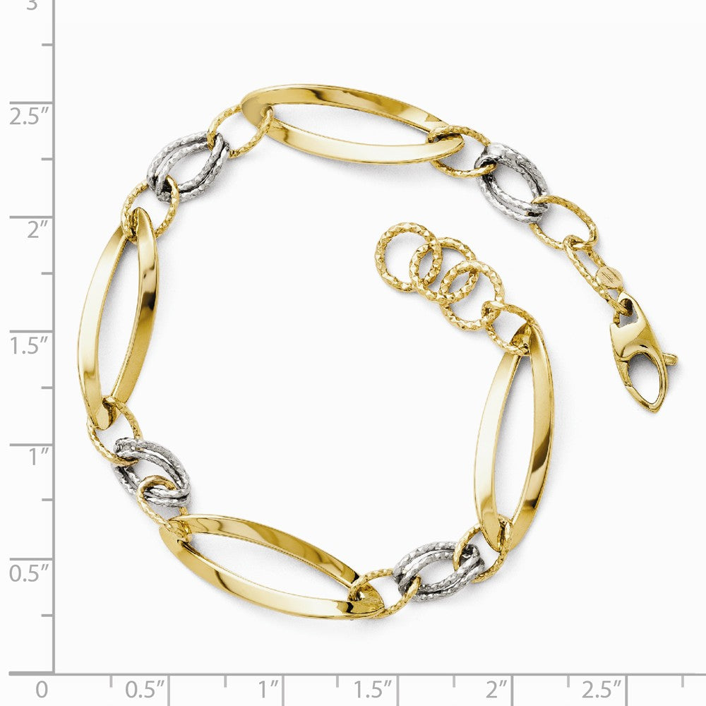 Alternate view of the 14k Two Tone Gold, 8mm Polished & Diamond Cut Adj. Chain Bracelet by The Black Bow Jewelry Co.