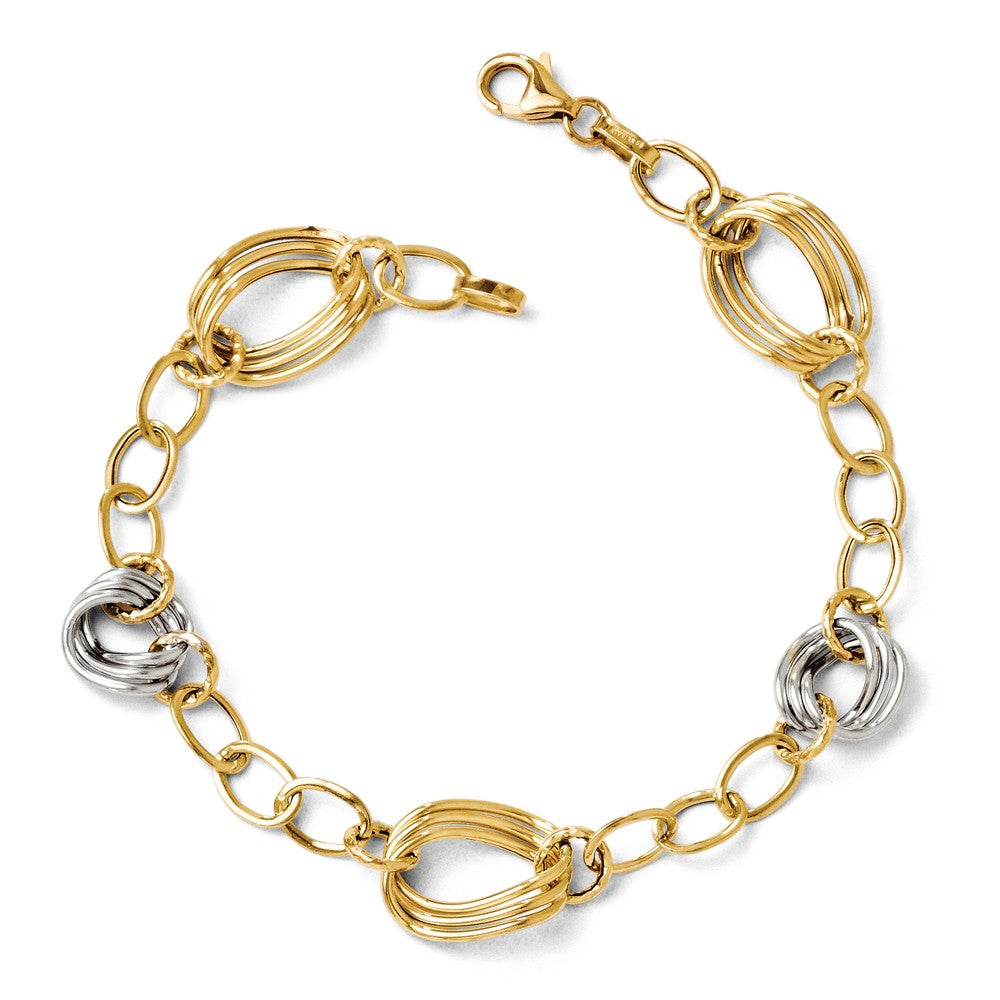 14k Two Tone Gold, Italian 11mm Polished Link Chain Bracelet, 7.5 Inch, Item B11773 by The Black Bow Jewelry Co.