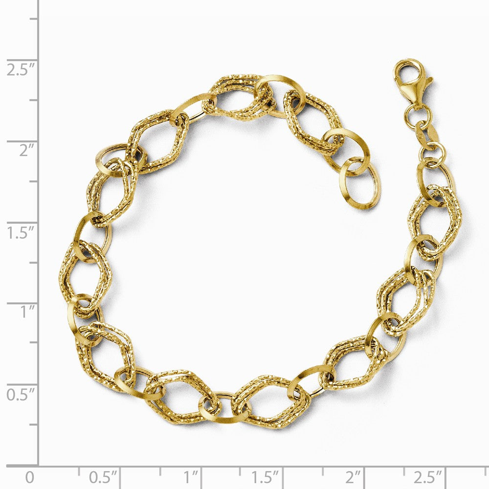 Alternate view of the 14k Yellow Gold Italian 8mm Polished Textured Chain Bracelet, 7.5 Inch by The Black Bow Jewelry Co.