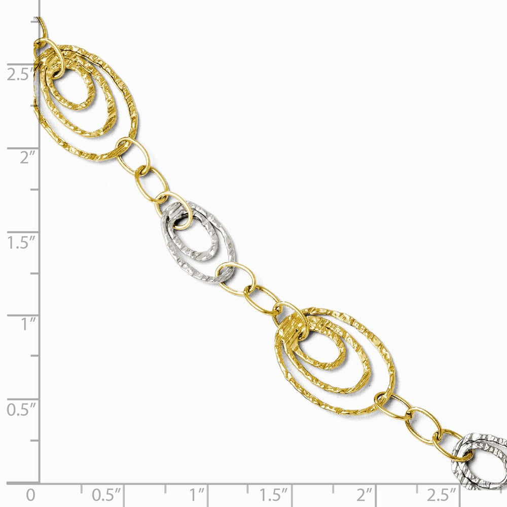 Alternate view of the 14k Two Tone Gold, Italian 14mm Fancy Link Bracelet, 7 Inch by The Black Bow Jewelry Co.