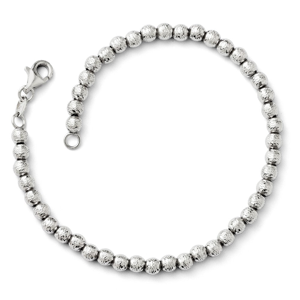 14k White Gold Italian 4mm Diamond Cut Bead Chain Bracelet, 7.25 Inch, Item B11781 by The Black Bow Jewelry Co.