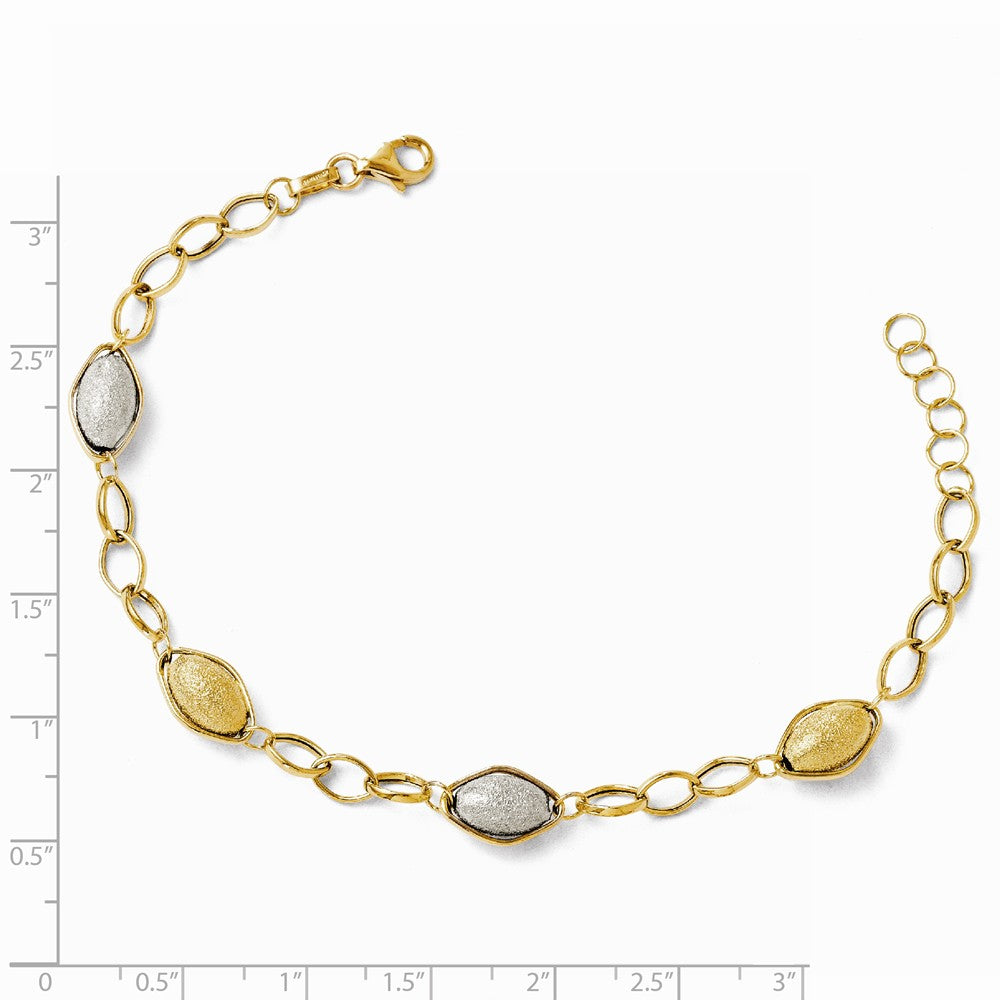 Alternate view of the 14k Two Tone Gold Italian Adj. Textured Beaded Bracelet, 7-8 Inch by The Black Bow Jewelry Co.