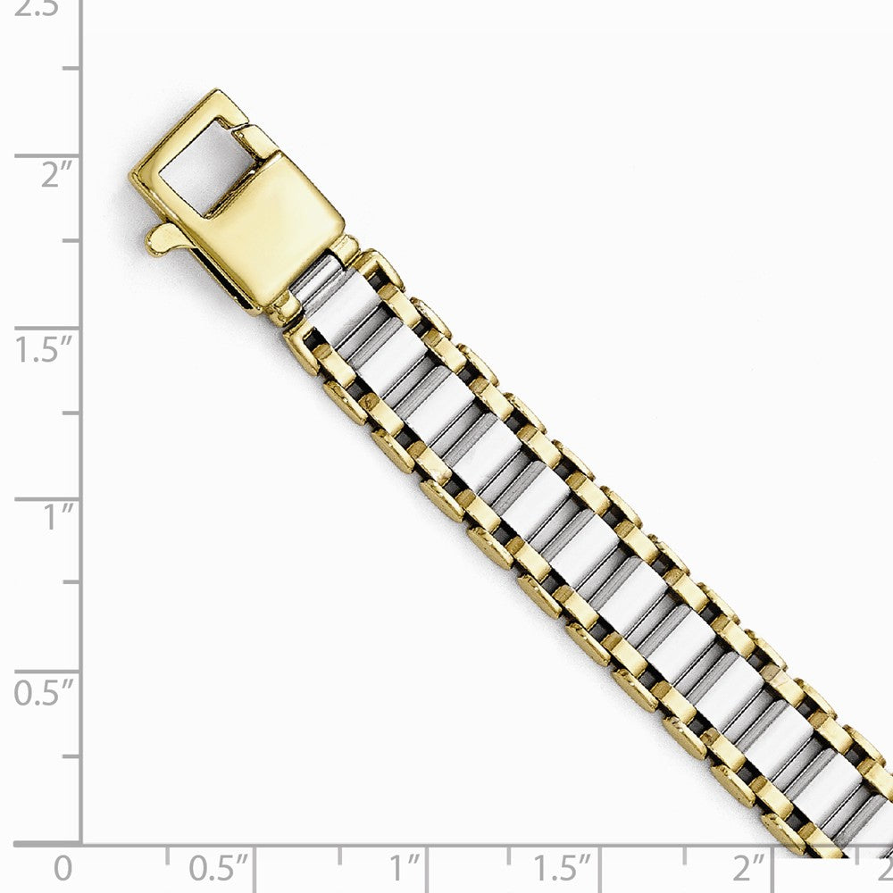 Alternate view of the Men's 14k Two Tone Gold, 9.25mm Panther Link Bracelet, 8.25 Inch by The Black Bow Jewelry Co.