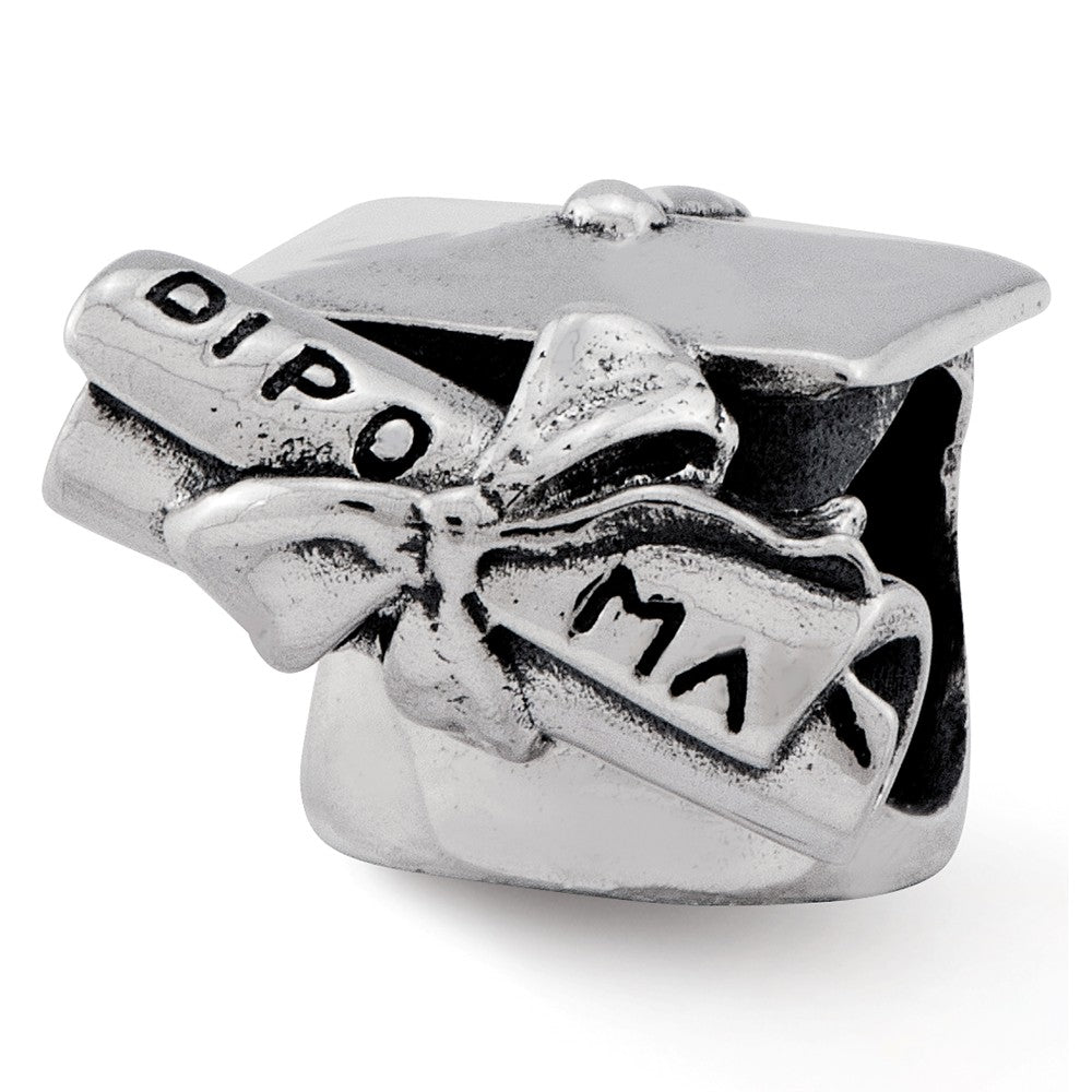 Sterling Silver Graduation Cap & Diploma Bead Charm, Item B11850 by The Black Bow Jewelry Co.