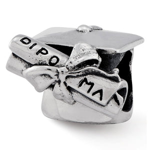 Sterling Silver Graduation Cap & Diploma Bead Charm