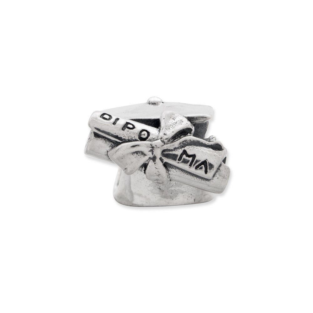 Alternate view of the Sterling Silver Graduation Cap & Diploma Bead Charm by The Black Bow Jewelry Co.