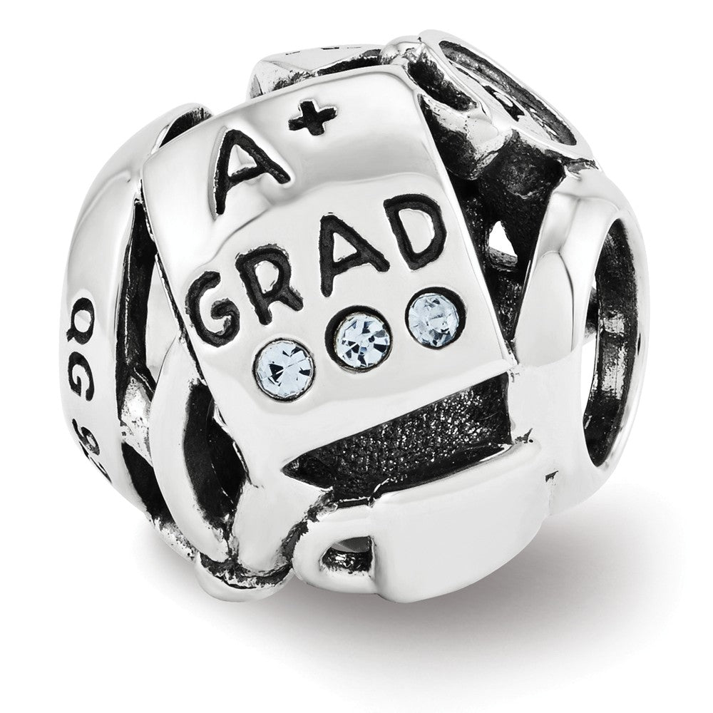 Sterling Silver with Swarovski Crystals College Graduation Bead Charm, Item B11854 by The Black Bow Jewelry Co.