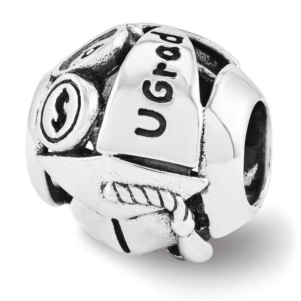 Alternate view of the Sterling Silver with Swarovski Crystals College Graduation Bead Charm by The Black Bow Jewelry Co.