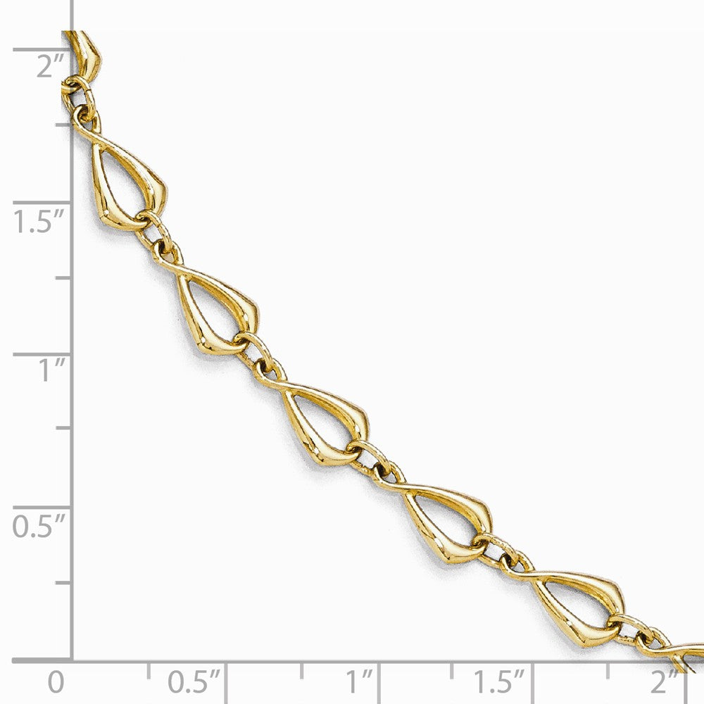 Alternate view of the 14k Yellow Gold 6mm Polished Fancy Link Chain Bracelet, 7.5 Inch by The Black Bow Jewelry Co.
