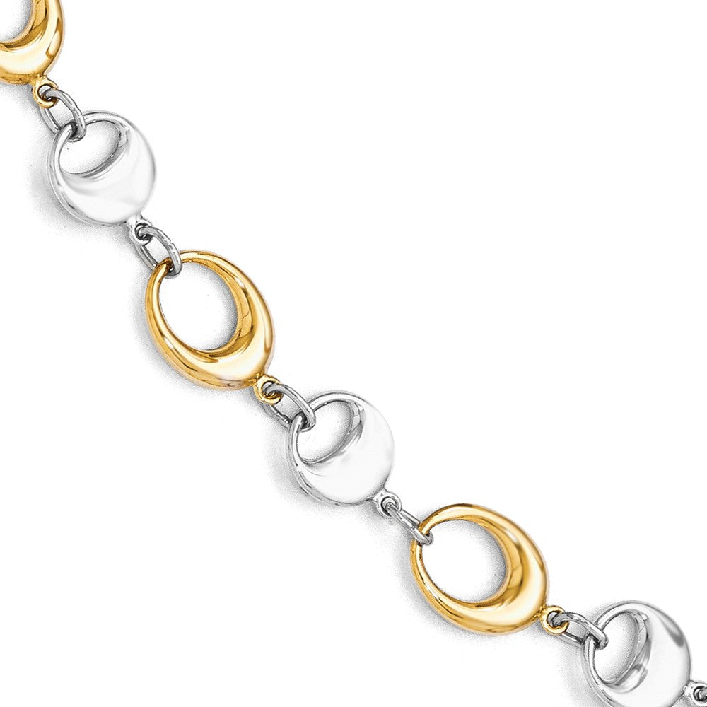 14k Yellow and White Gold 7mm Two Tone Chain Link Bracelet, 7.75 Inch, Item B11862 by The Black Bow Jewelry Co.