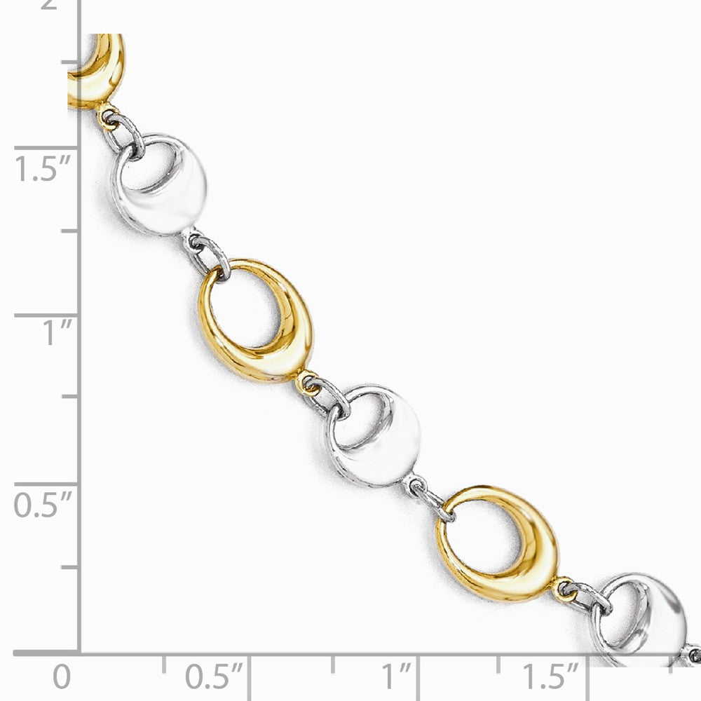 Alternate view of the 14k Yellow and White Gold 7mm Two Tone Chain Link Bracelet, 7.75 Inch by The Black Bow Jewelry Co.