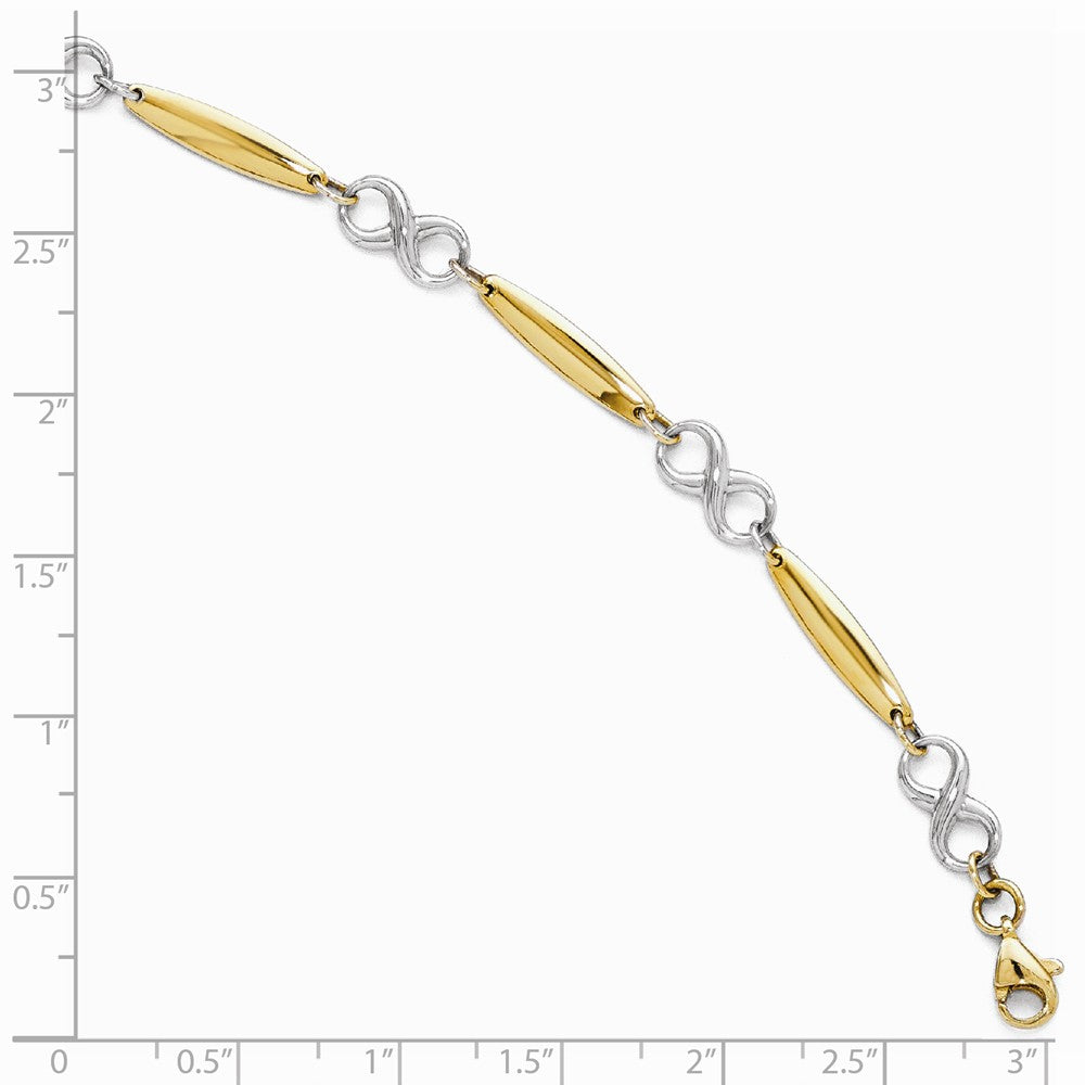 Alternate view of the 14k Two Tone Gold 6mm Figure 8 and Bar Chain Link Bracelet, 7.75 Inch by The Black Bow Jewelry Co.
