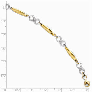 Alternate view of the 14k Two Tone Gold 6mm Figure 8 and Bar Link Bracelet, 7.75 Inch by The Black Bow Jewelry Co.