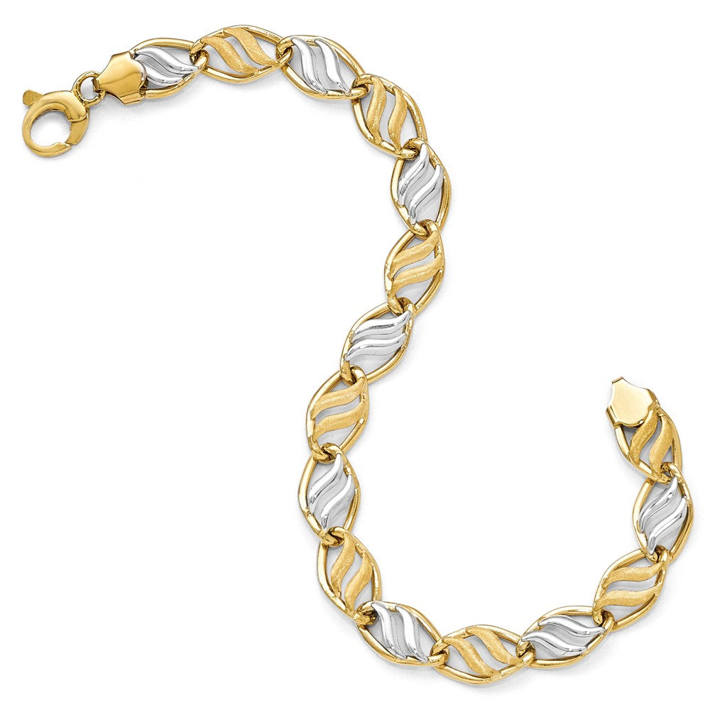 Alternate view of the 14k Two Tone Gold, Italian 8mm Swirl Accent Link Bracelet, 7.5 Inch by The Black Bow Jewelry Co.