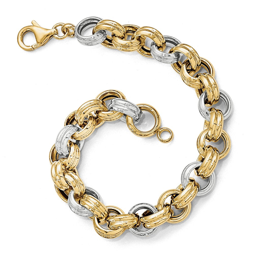 14k Two Tone Gold, Italian 10mm Fancy Rolo Link Chain Bracelet, 8 Inch, Item B11888 by The Black Bow Jewelry Co.