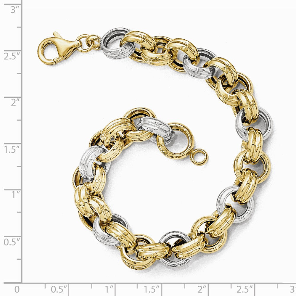 Alternate view of the 14k Two Tone Gold, Italian 10mm Fancy Rolo Link Chain Bracelet, 8 Inch by The Black Bow Jewelry Co.