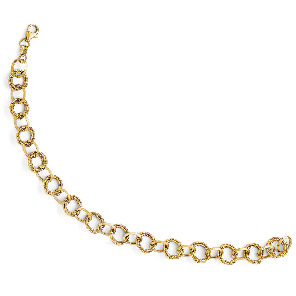 14k Yellow Gold 8mm Textured Double Link Chain Bracelet, 8 Inch, Item B11891 by The Black Bow Jewelry Co.