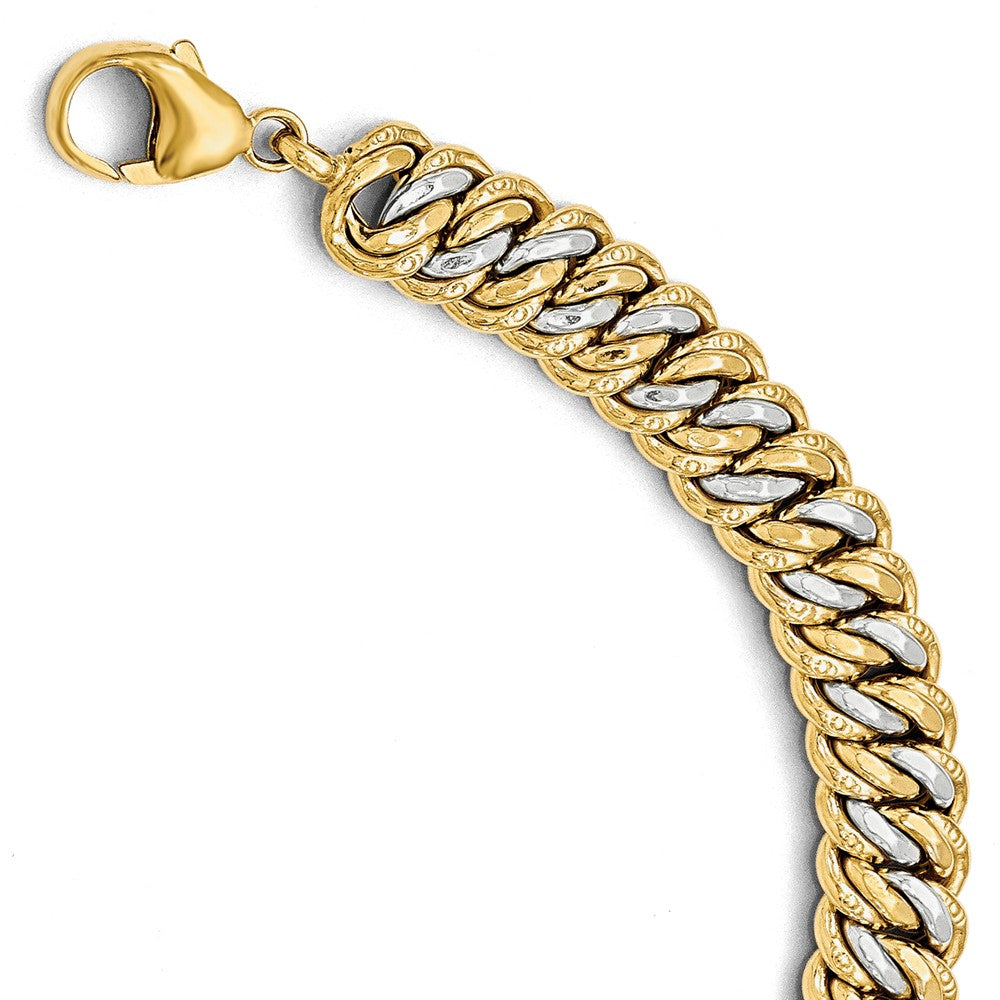 14k Yellow Gold & White Rhodium 11mm Double Link Chain Bracelet, 8 In, Item B11893 by The Black Bow Jewelry Co.