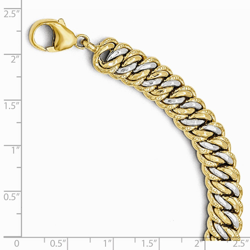 Alternate view of the 14k Yellow Gold & White Rhodium 11mm Double Link Chain Bracelet, 8 In by The Black Bow Jewelry Co.