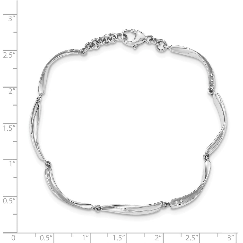 Alternate view of the Satin & Polished Diamond Link Rhodium Plated Silver Bracelet, 7.5 Inch by The Black Bow Jewelry Co.