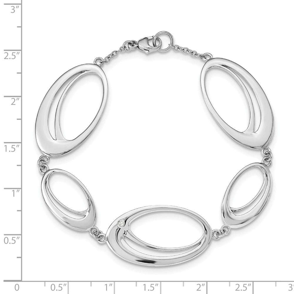 Alternate view of the Double Oval Diamond Accent Link Bracelet in Rhodium Plated Silver by The Black Bow Jewelry Co.