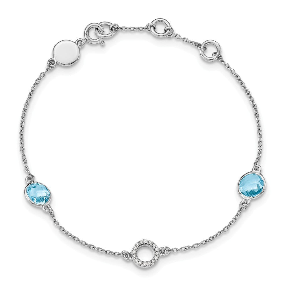 Blue Topaz and Diamond Adj. Station Bracelet in Rhodium Plated Silver, Item B11922 by The Black Bow Jewelry Co.