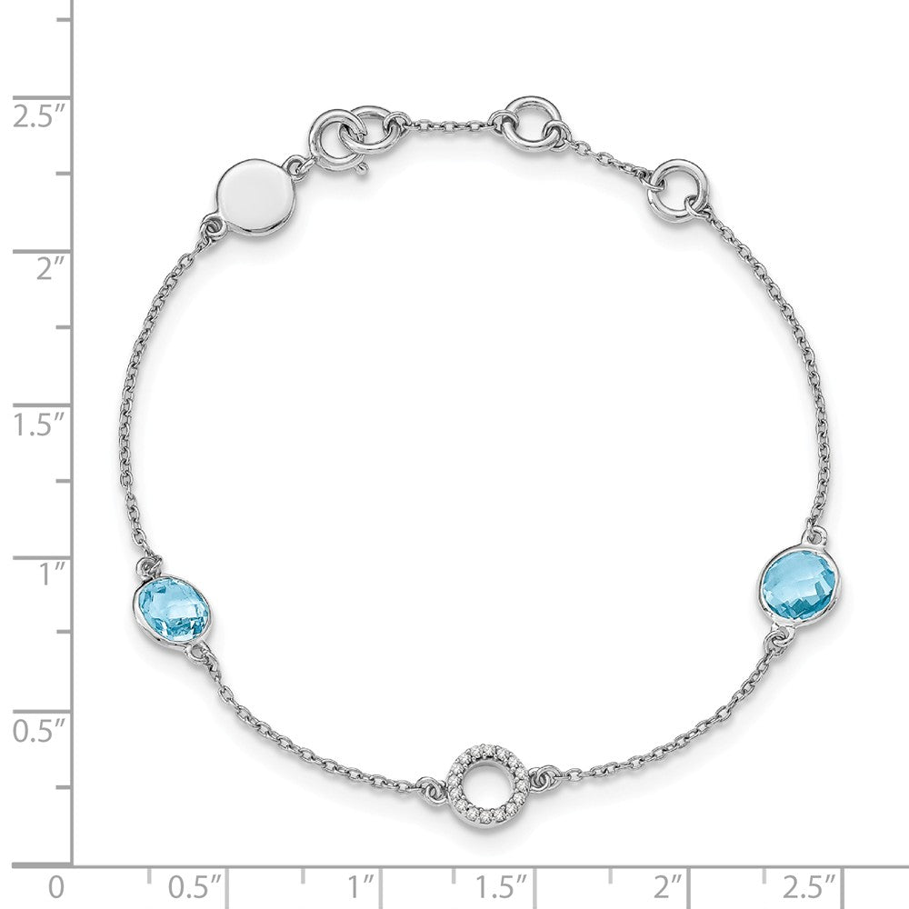 Alternate view of the Blue Topaz and Diamond Adj. Station Bracelet in Rhodium Plated Silver by The Black Bow Jewelry Co.