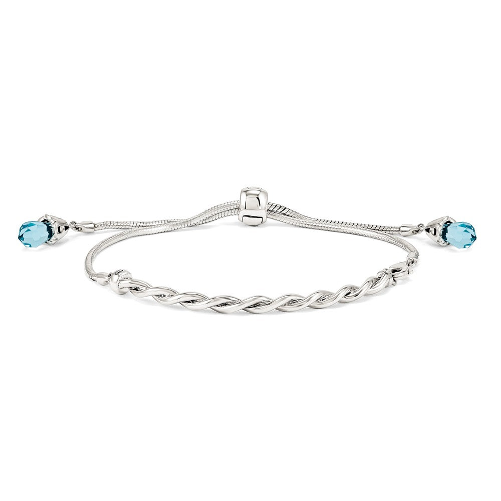 Sterling Silver & Blue Crystal Twisted Bar Adjustable Starter Bracelet, Item B11928 by The Black Bow Jewelry Co.