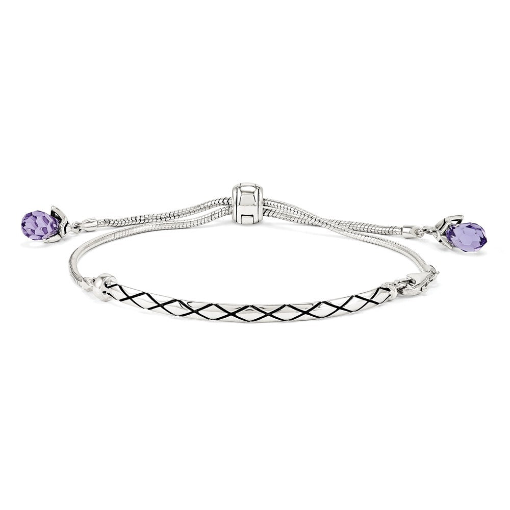 Sterling Silver & Purple Crystal Adjustable Starter Bracelet, Item B11929 by The Black Bow Jewelry Co.