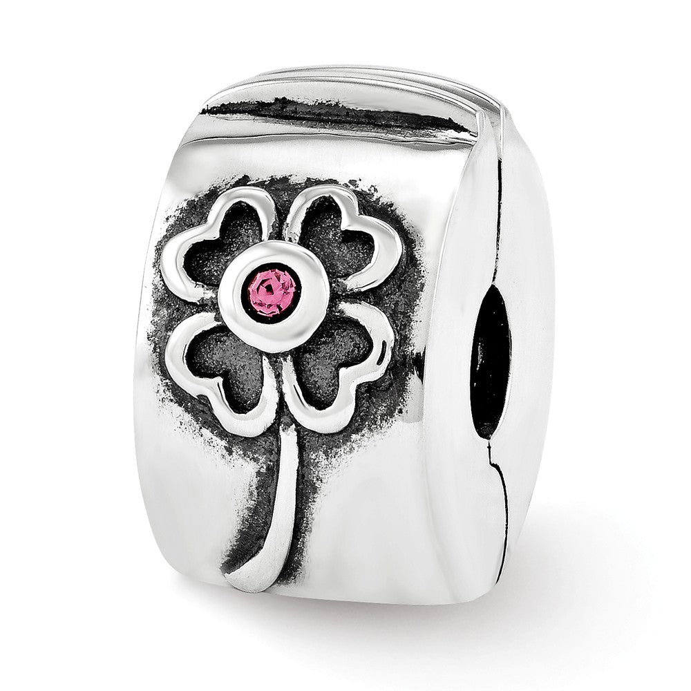 Sterling Silver with Pink Swarovski Crystals Hinged Flower Clip Bead, Item B11962 by The Black Bow Jewelry Co.