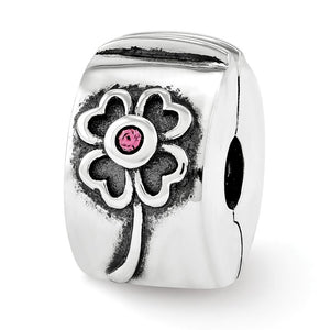 Sterling Silver with Pink Swarovski Crystals Hinged Flower Clip Bead - The Black Bow Jewelry Co.