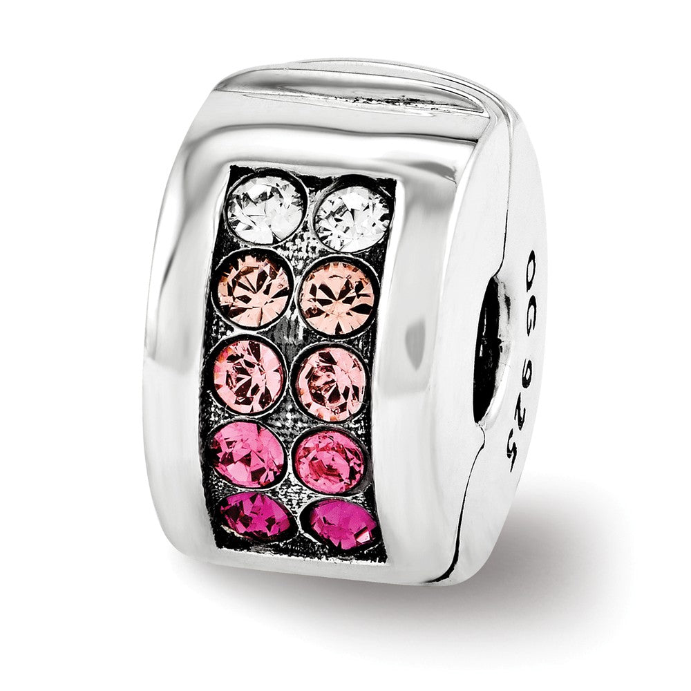 Sterling Silver with Pink Swarovski Crystals Hinged Clip Bead Charm, Item B11964 by The Black Bow Jewelry Co.