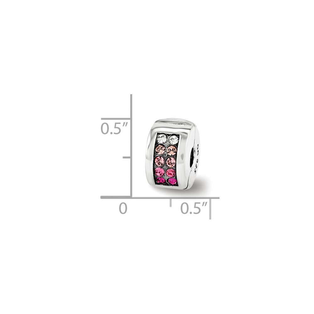 Alternate view of the Sterling Silver with Pink Swarovski Crystals Hinged Clip Bead Charm by The Black Bow Jewelry Co.