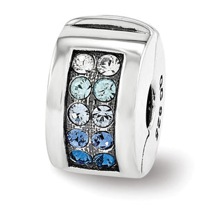 Sterling Silver with Blue Swarovski Crystals Hinged Clip Bead Charm - The Black Bow Jewelry Co.